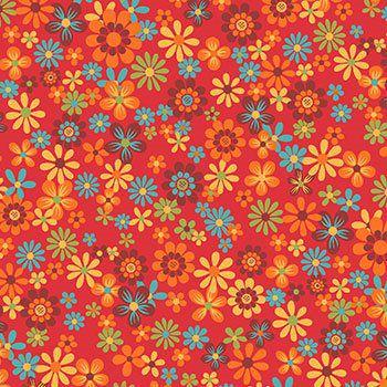 Tecido Tricoline Floral - Fundo Vermelho - Coleção Cocoricó - Preço de 50 cm x 150 cm