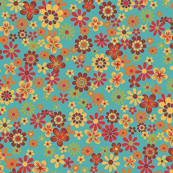 Tecido Tricoline Floral - Fundo Azul - Coleção Cocoricó - Preço de 50 cm x 150 cm