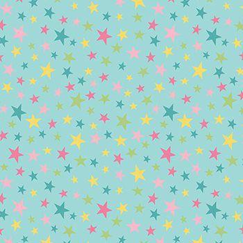 Tecido Tricoline Estampa Estrelinhas Coloridas - Fundo Tiffany - Preço de 50 cm x 150 cm