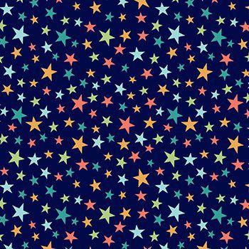 Tecido Tricoline Estampa Estrelinhas Coloridas - Fundo Azul Marinho - Preço de 50 cm x 150 cm