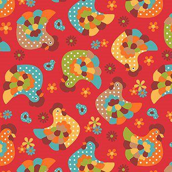 Tecido Tricoline Galinha - Fundo Vermelho - Coleção Cocoricó - Preço de 50 cm x 150 cm