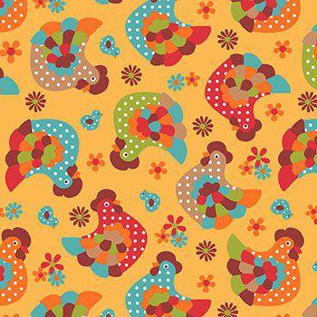 Tecido Tricoline Galinha - Fundo Amarelo - Coleção Cocoricó - Preço de 50 cm x 150 cm