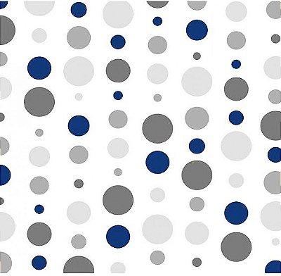 Tecido Tricoline Estampada Bolas Marinho e Cinza - Fundo Branco - Preço de 50 cm X 150 cm