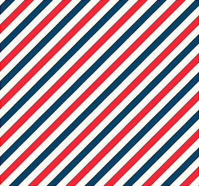 Tecido Tricoline Estampada Listra Diagonal Marinho e Vermelho - Fundo Branco - Preço de 50 cm X 150 cm