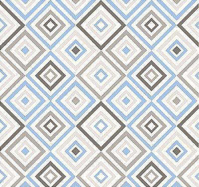 Tecido Tricoline Estampa Geométrica Azul e Cinza - Fundo Branco - Preço de 50 cm X 150 cm