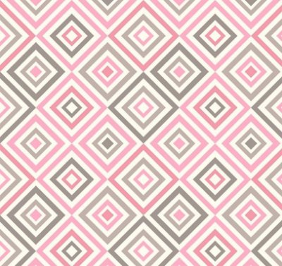 Tecido Tricoline Estampa Geométrica Rosa e Cinza - Fundo Branco - Preço de 50 cm X 150 cm