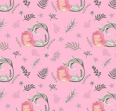 Tecido Tricoline Estampa de Sereia Cinza e Rosa - Fundo Rosa - Preço de 50 cm X 150 cm