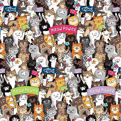 Tecido Digital Multidão de Gatos - Preço de 50 cm x 150 cm
