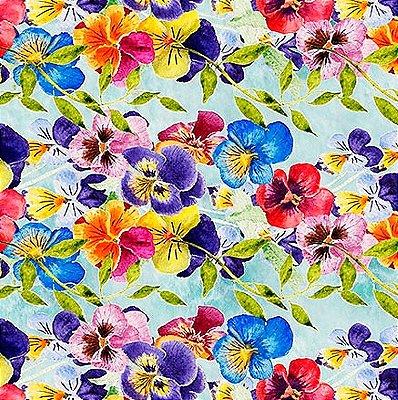 Tecido Digital de Flores Azaleias Multicores- Fundo Azul Claro - Preço de 50 cm X 150cm