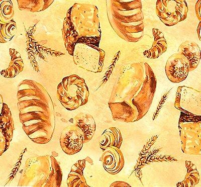 Tecido Digital de Pães Caseiro - Fundo Creme - Preço de 50 cm X 150cm