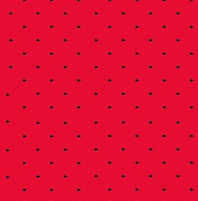 Tecido Tricoline Sementes de Melancia - Fundo Vermelho - Preço de 50 cm X 150 cm