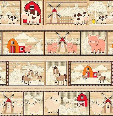 Tecido Tricoline em Faixas: Quadrinhos Temas da Fazenda - Fundo Creme - Preço de 64 cm x 150 cm