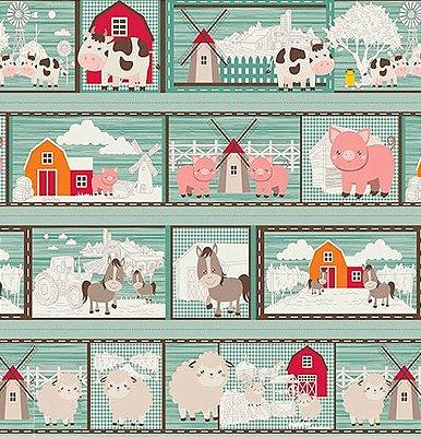 Tecido Tricoline em Faixas: Quadrinhos Temas da Fazenda - Fundo Verde - Preço de 64 cm x 150 cm