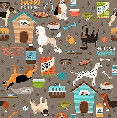 Tecido Oxford Pet Dog - Fundo Cinza - Preço de 50 cm x 150 cm