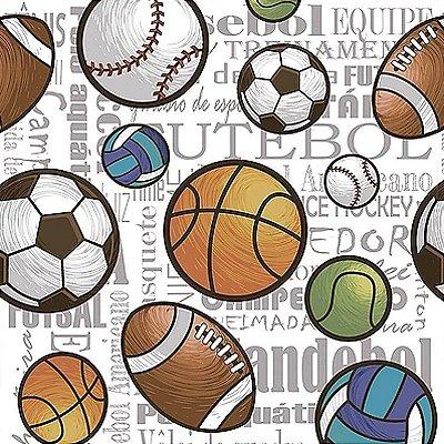 Tecido Digital Bolas Esportes Soltas - Fundo Branco - Preço de 50 cm x 140 cm