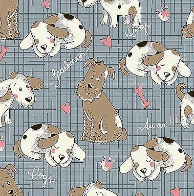 Tecido Tricoline Cachorrinho - Coleção Melhores Amigos - Fundo Azul - Preço de 50 cm x 140 cm