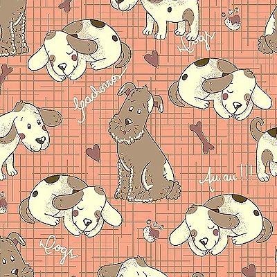 Tecido Tricoline Cachorrinhos Country - Coleção Melhores Amigos - Fundo Rosa - Preço de 50 cm x 140 cm