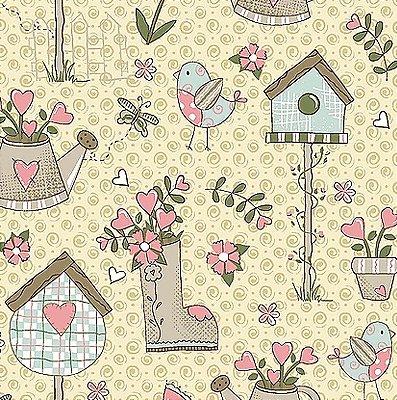 Tecido Tricoline Garden - Coleção Garden - Fundo Creme - Preço de 50 cm x 140 cm