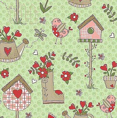 Tecido Tricoline Garden - Coleção Garden - Fundo Verde - Preço de 50 cm x 140 cm