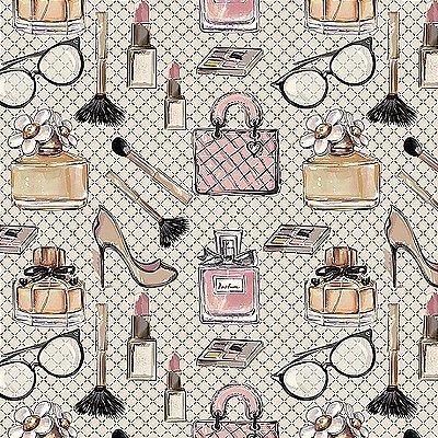Tecido Digital Mulher Fashion - Fundo Cinza Suave - Coleção Perfumes e Maquiagem - Preço de 50 cm x 140 cm