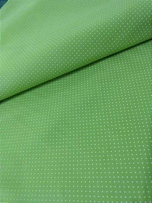 Tecido Tricoline com Micro Poá Branco com Fundo Verde Cítrico - Preço de 50 cm X 150 cm
