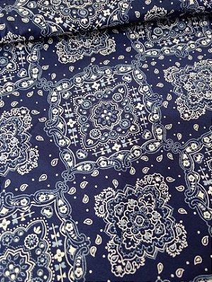 Tecido Tricoline Bandana - Fundo Azul - Preço de 50 cm X 150 cm