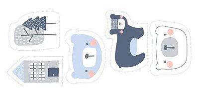 Tecido Tricoline Urso Azul - Coleção Inspiração Escandinava - por Eliana Sposito