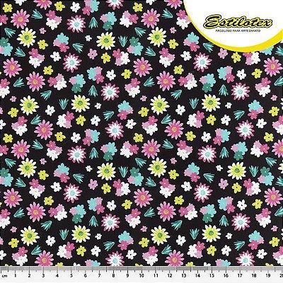 Tecido Tricoline Floral - Fundo Preto - Coleção Viva México - Preço de 50 cm x 150 cm