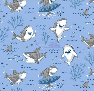 Tecido Tricoline Tubarão Shark - Fundo Azul Claro - Preço de 50 cm X 150 cm