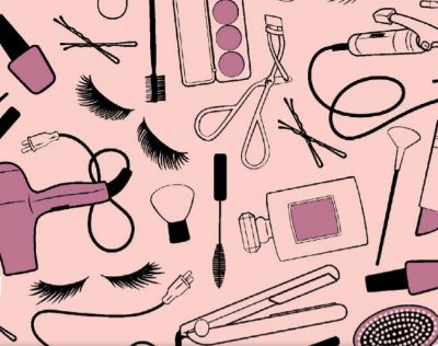 Tecido Tricoline Cabeleireiro e Maquiagem - Fundo Rosa - Preço de 50cm x 150cm