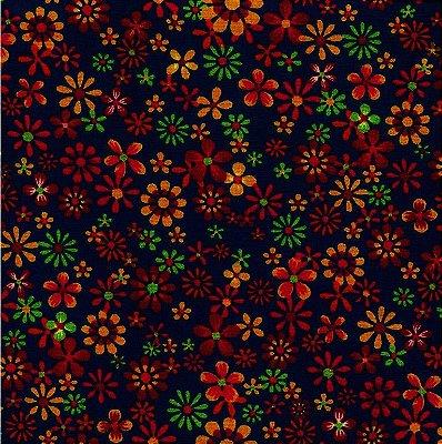 Tecido Tricoline Floral - Fundo Marinho - Coleção Cocoricó - Preço de 50 cm x 150 cm