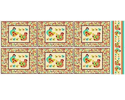 Tecido Tricoline Jogo Americano - Coleção Cocoricó - Fundo Bege - 60 cm X 150 cm