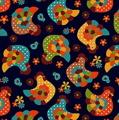 Tecido Tricoline Galinha - Fundo Marinho - Coleção Cocoricó - Preço de 50 cm x 150 cm