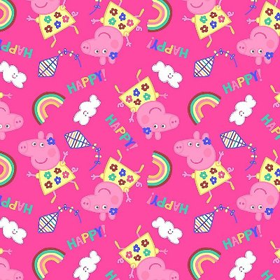 Tecido Tricoline Peppa Pig Feliz - Fundo Pink - Preço de 50 cm x 150 cm