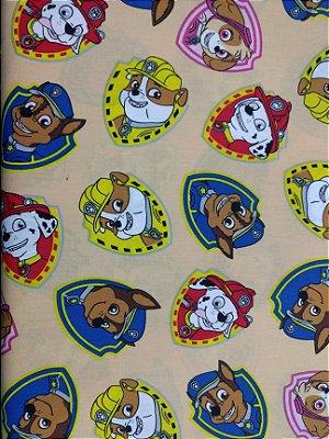 Tecido Tricoline com Estampa da Patrulha Canina - Preço de 50 cm X 150 cm
