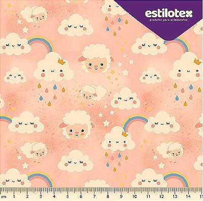Tecido Tricoline  Estampa de Nuvens, Ovelhinhas Brancas e Arco Íris - Fundo Rosa Bebê - 50cm x 150cm
