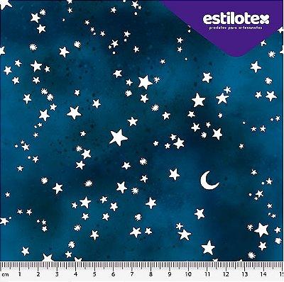 Tecido Tricoline  Estampa Noite Estrelada com Poierinha - Fundo Azul Marinho - 50cm x 150cm