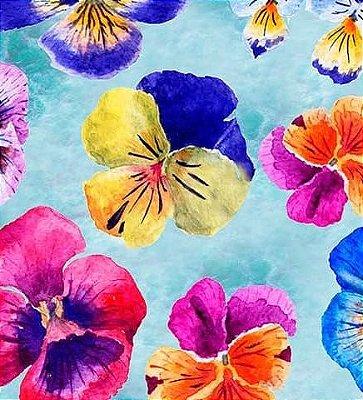 Tecido Digital de Flores Azaleias Grandes- Fundo Azul Claro - Preço de 50 cm X 150cm