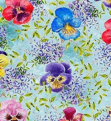 Tecido Digital de Flores Azaleias e Ramos - Fundo Azul Claro - Preço de 50 cm X 150cm