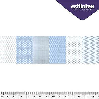 Tecido Tricoline em Faixas: Poá, Xadrez e Chevron - Azul Claro - Preço de 50 cm x 150 cm