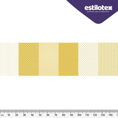 Tecido Tricoline em Faixas: Poá, Xadrez e Chevron - Amarelo - Preço de 50 cm x 150 cm