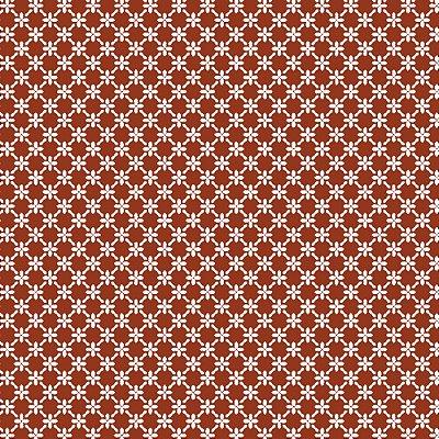 Tecido Tricoline Cerca de Flores - Fundo Ferrugem - Coleção 1 - Preço de 50 cm x 150 cm