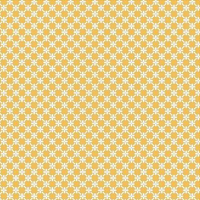 Tecido Tricoline Cerca de Flores - Fundo Amarelo - Coleção 1 - Preço de 50 cm x 150 cm