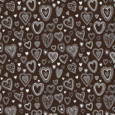 Tecido Tricoline Mini Corações - Fundo Marrom - Coleção 2 - Preço de 50 cm x 150 cm
