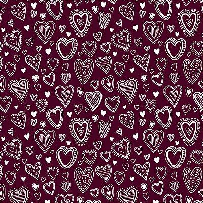 Tecido Tricoline Mini Corações - Fundo Vinho - Coleção 1 - Preço de 50 cm x 150 cm