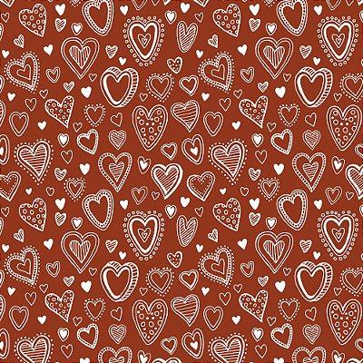 Tecido Tricoline Mini Corações - Fundo Ferrugem - Coleção 1- Preço de 50 cm x 150 cm