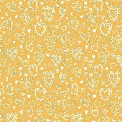 Tecido Tricoline Mini Corações - Fundo Amarelo - Coleção 1- Preço de 50 cm x 150 cm