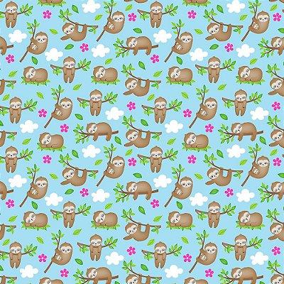 Tecido Tricoline Bicho Preguiça no Galho - Coleção Bicho Preguiça - Preço de 50 cm x 150 cm