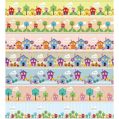 Tecido Digital Barrado Semaninha Casinhas - Coleção Vitória Quintal - Preço de 50 cm x 150 cm