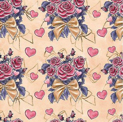 Tecido Tricoline Digital Bouquet - Fundo Pêssego - Coleção Valentine - Preço de 50cm x 150cm